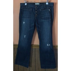 Button Fly Distressed Flare Jeans